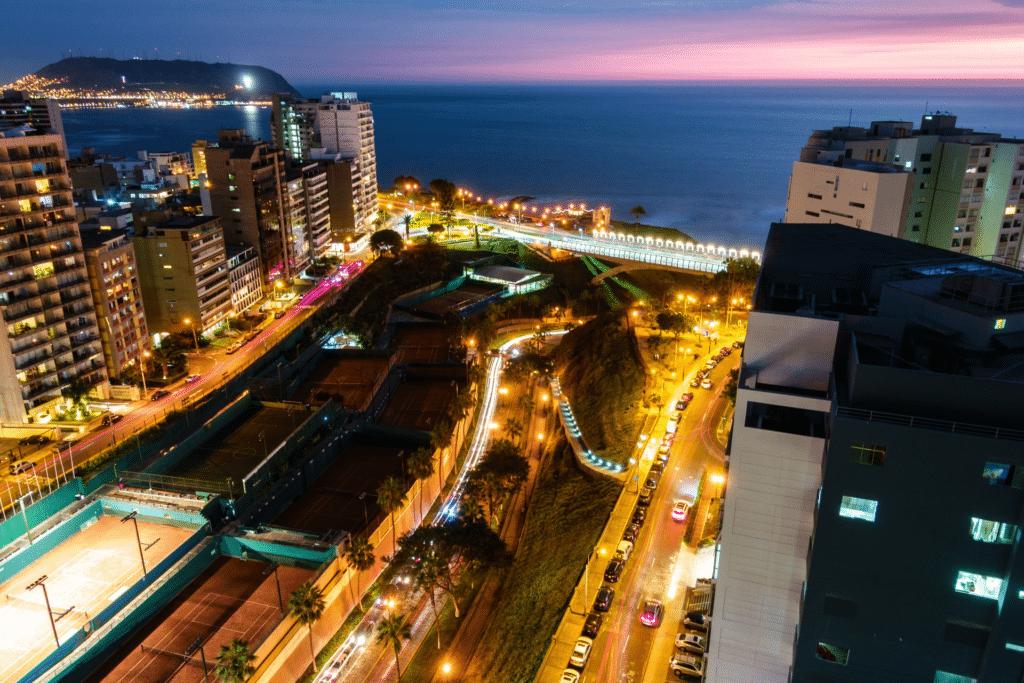 View of Lima, Peru at night